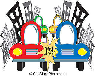 Car Accident On City Street - simple cartoon drawing of two...