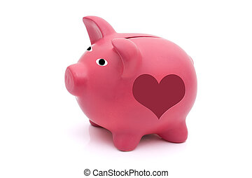 Love saving for your future - A pink piggy bank with heart...