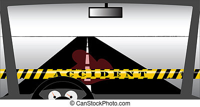 Windscreen accident - An accident site seen through the...