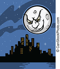 Man In the Moon Cartoon - Retro style illustration of the...