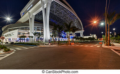 View of new Marlins Park - MIAMI, FL - APRIL 9: View of the...