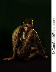 身體, 黑發淺黑膚色女子, 婦女, 藝術