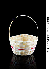 Bamboo basket - Mini Bamboo basket on black background