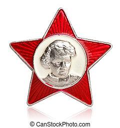 Lenin, poco, centro, U.R.S.S., retrato, insignia,  octobrist