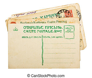 Vintage 1900s russian postcards stack isolated on white