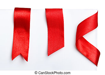 Red bookmark ribbons set