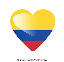 Colombia 3D heart shaped flag