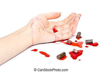 Crime scene with bullets and blood