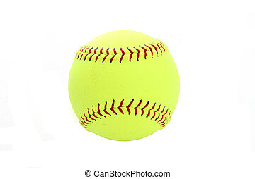 Softball - Yellow softball set on a white background