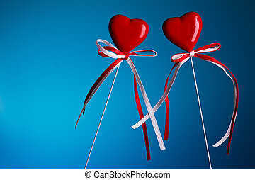 Two hearts on stick with copy-space