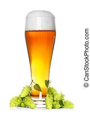 Cerveja, vidro, fresco, verde, pulo
