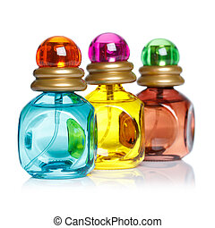 Perfume bottles isolated on white background