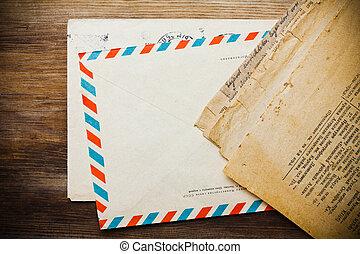 古い, 木製である, 封筒, 背景, 新聞, 年を取った