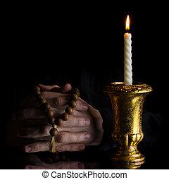 oração, mãos, rosário, vindima,...
