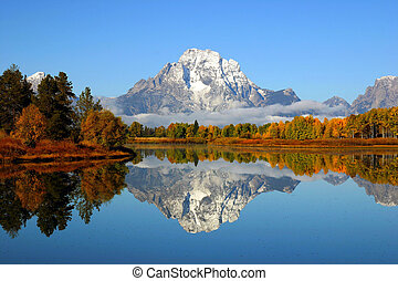 Grand Teton Mountain Reflection - Reflection of mountain...