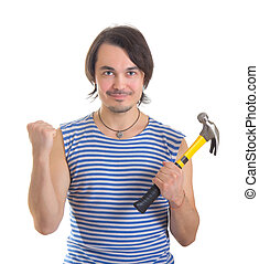 Handsome man with hammer Isolated on white background -...