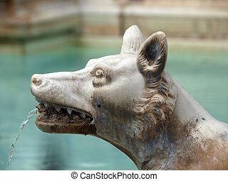 the Fonte Gaia (Fountain of Joy), Piazza del Campo, Siena.