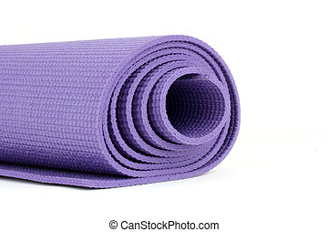 Yoga Mat - Purple Yoga Exercise Mat On White Background