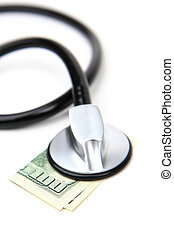 Medical Money - Stethescope and 100 dollar bill