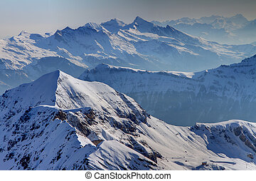 Switzerland Ski Slopes - Snow Covered Mountains In...