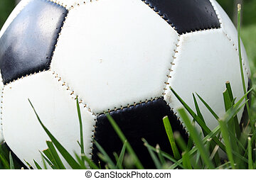 Soccerball  - A soccerball sits on a field