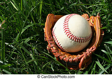Baseball and Glove - A baseball glove with a baseball