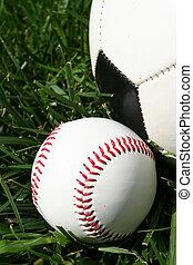 Baseball and Soccerball - Baseball and soccerball sitting on...