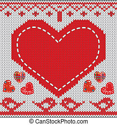 Knitted heart - Knitted pattern with heart, birds in love,...