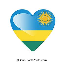 Rwanda 3D heart shaped flag