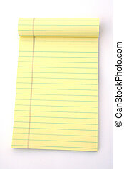 Legal Pad - Yellow legal pad of paper set against a white...