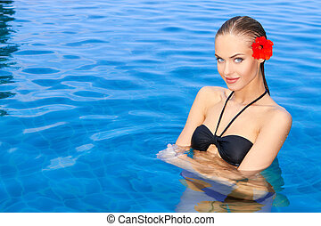Young woman standing in swimming pool