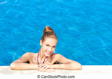 Cute in swimming pool with copy space - Cute girl in...