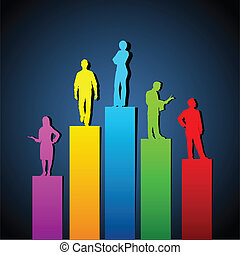 Growing Organisation - illustration of people standing on...