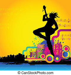 Rockstar with Guitar - illustration of rockstar performing...