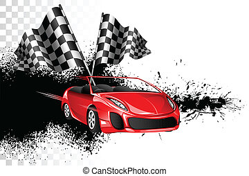 Car Race - illustration of racing car with checker flag on...