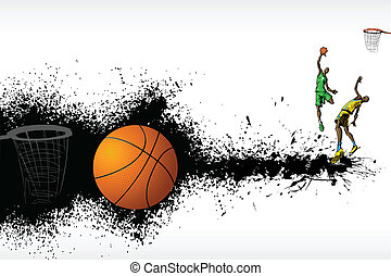 Basketball Match - illustration of basketball player playing...