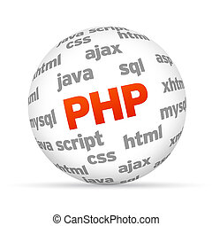 Hypertext Preprocessor 3d Sphere on white background