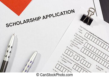 Scholarship Application - Directly above photograph of a...