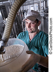 yogurt production - Worker, fill jars of yogurt in a cheese...