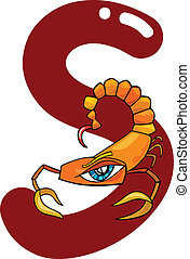 S for scorpion - cartoon illustration of S letter for...