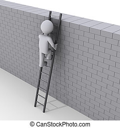 Person climbing ladder over a wall - 3d person climbing...