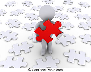 Person finds the solution - 3d person holding a red puzzle...
