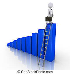 Businessman standing on top of chart with ladder