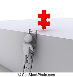 Person climbing ladder for solution - 3d person climbing...