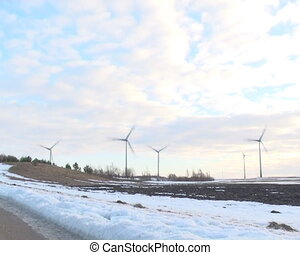 speed windmills clouds - speeded up view windmills rotating...