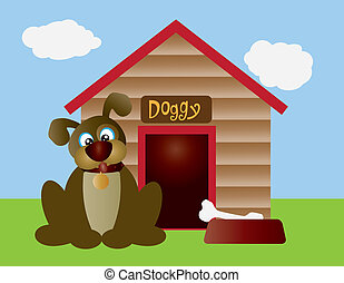 Cute Puppy Dog with Dog House Illustration - Cute Puppy Dog...
