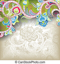 Lime Green Floral - Illustration of abstract floral...