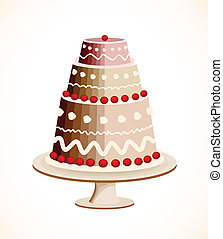 Chocolate cake with berry. Vector illustration