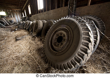 Group of tractor tires - A group of tractor tires leaning...