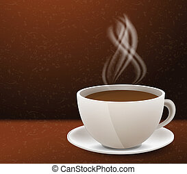 Coffee cup - Brown background with white coffee cup and bean